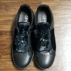 Faux Fur and Leather Embellished Sneaker